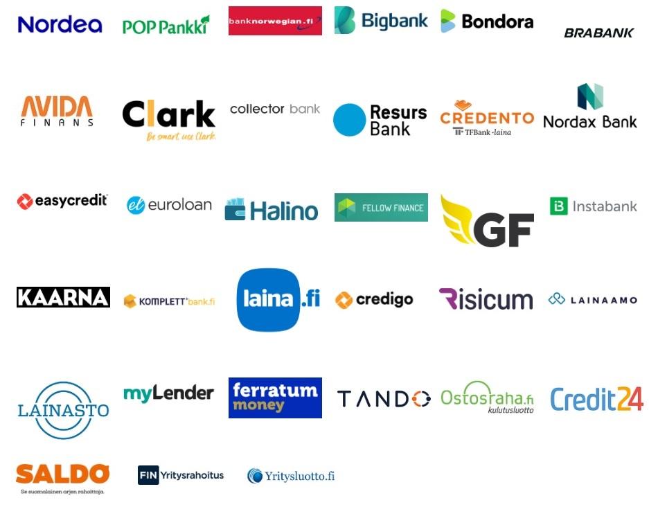 30 pankkia ja muuta luotonantajaa